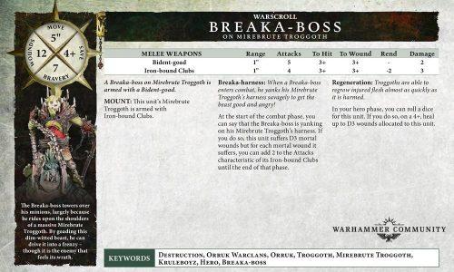 El warscroll del Breaka-boss en Mirebrute Troggoth y otras reglas del nuevo tomo Orruk
