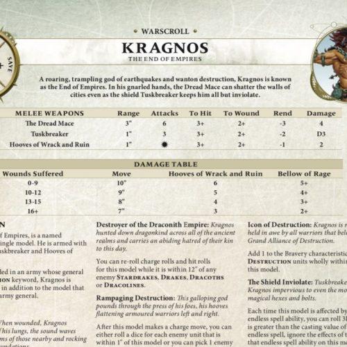 Ya disponible para descargar el warscroll de Kragnos