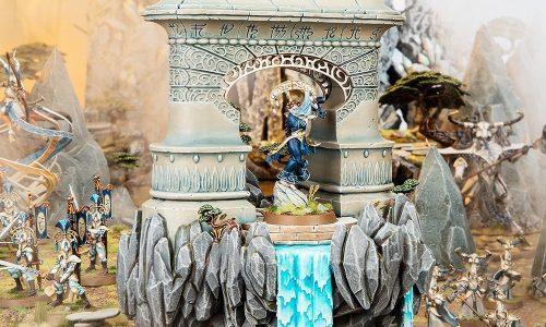 Conociendo el templo volador de los Lumineth que flota por la batalla derramando agua